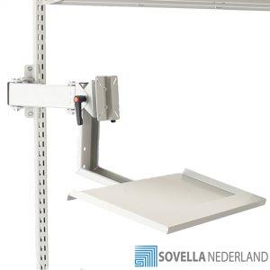 Sovella Nederland Treston Beeldschermhouder op zwenkarm met toetsenbord drager op een inpaktafel