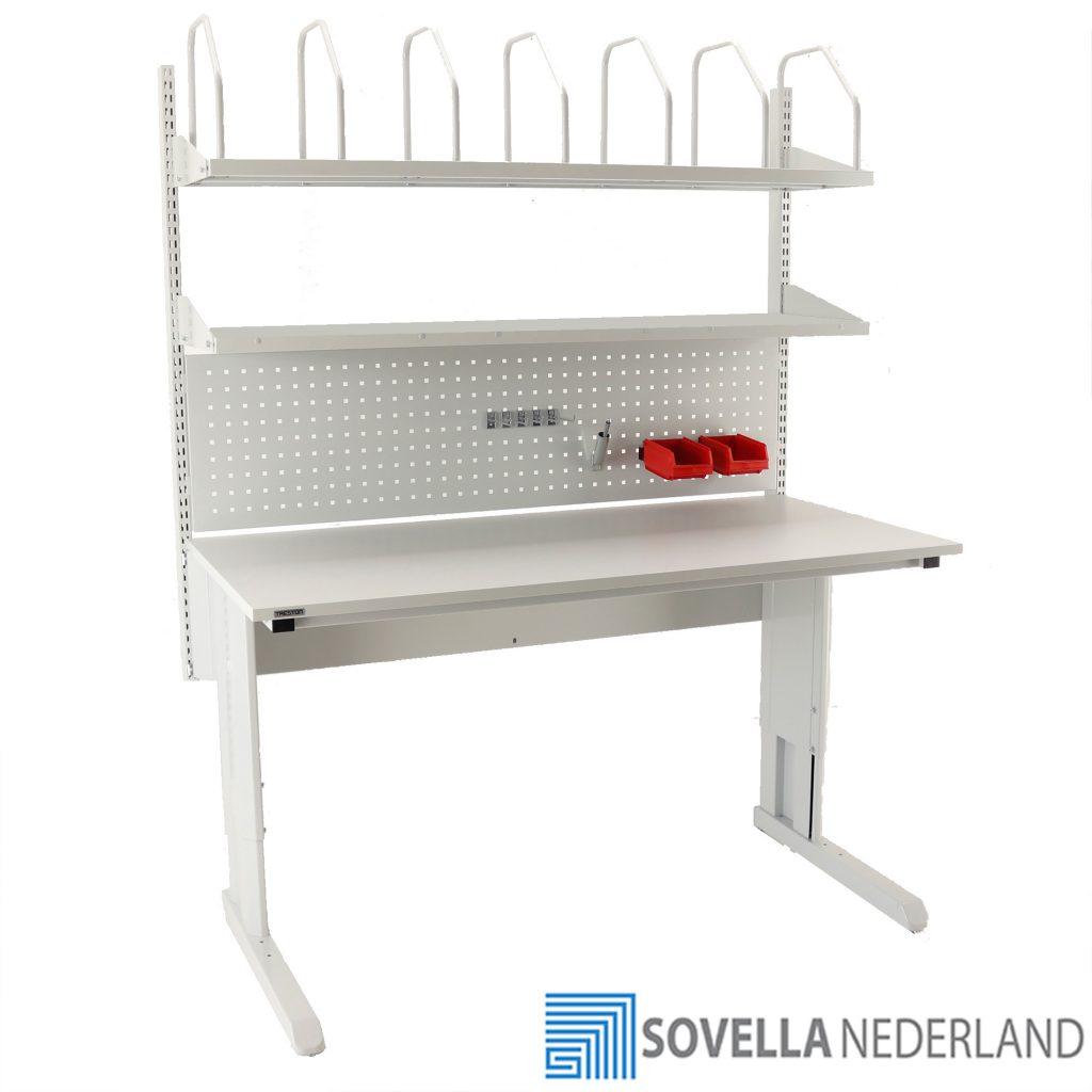 Sovella Nederland Treston inpaktafel double shelf combinatie met perfo paneel lean hakenset