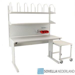 Sovella Nederland Treston inpaktafel double shelf combinatie met perfo paneel lean hakenset en lage bijzet trolley