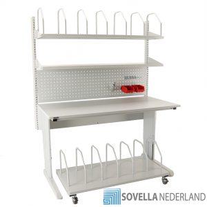 Sovella Nederland Treston inpaktafel double shelf combinatie met perfo paneel lean hakenset en trolley voor karton