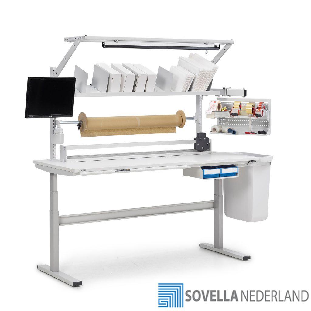 Treston TED elektrisch verstelbare werktafel voor RMA werkzaamheden en inpakken - Sovella Nederland