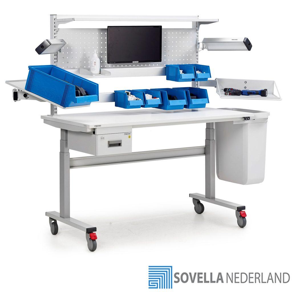 Treston TED elektrisch verstelbare werktafel voor retour werkzaamheden met wielen - Sovella Nederland